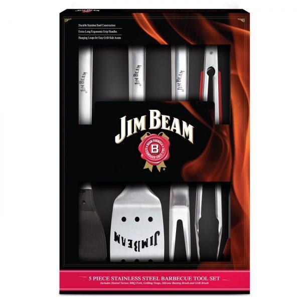Jim Beam BBQ Edelstahl Grillbesteck Grillset Besteck Set 5 teilig Grillen JB0156
