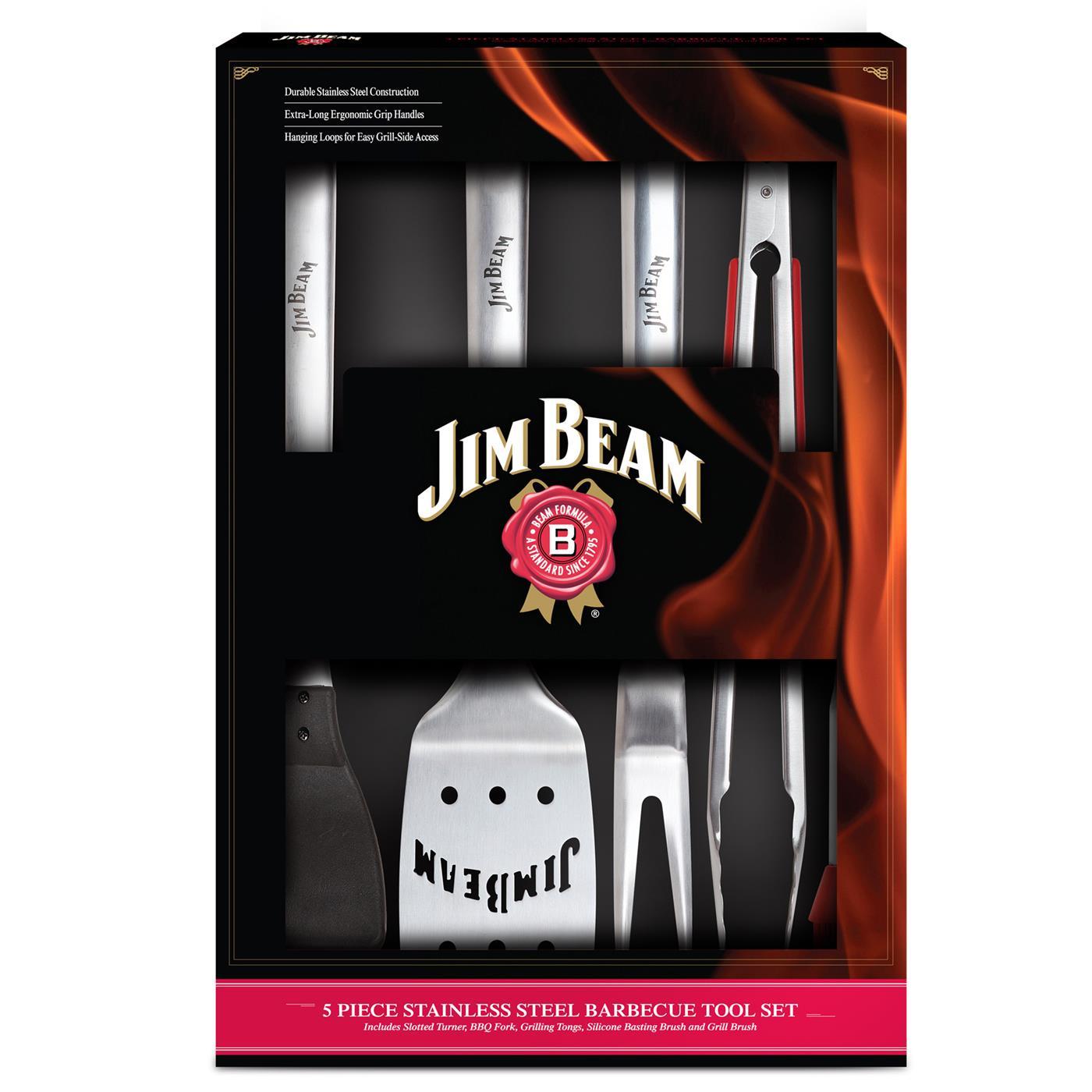 Jim Beam BBQ Grillbesteck Grillset Set 3tlg Grillzange Grillwender Grillbürste