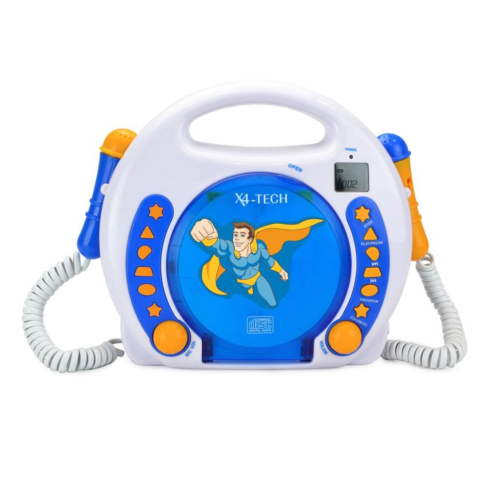 X4-TECH Bobby Joey MP3 Kinder CD-Player zum Mitsingen / CD USB SD-Karte /  Blau
