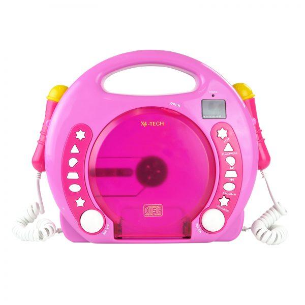 X4-TECH Bobby Joey MP3 Kinder CD-Player zum Mitsingen / CD USB SD-Karte / Pink