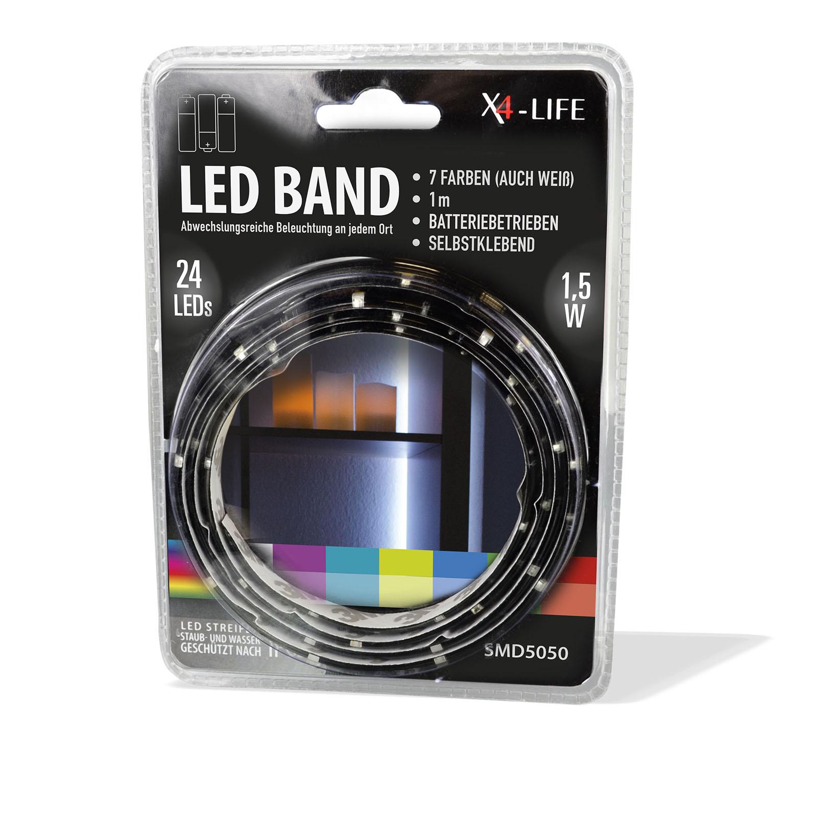 Fabulous X4-LIFE RGB LED Band 1m SMD5050 Batterie / Selbstklebend / IP65 IQ58