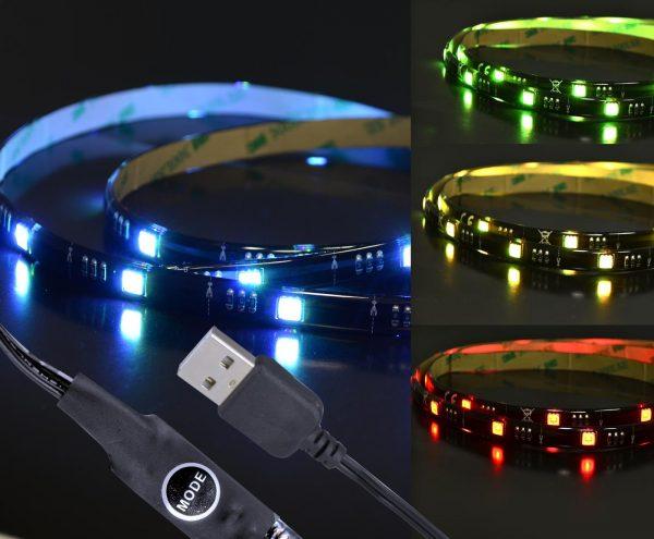 X4-LIFE RGB LED Band 1m SMD5050 USB / selbstklebend / div. Farbwechselprogramme