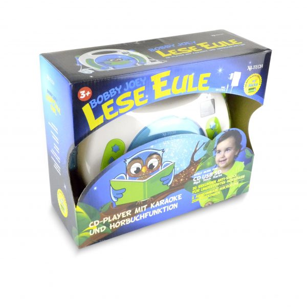 X4-TECH Bobby Joey Lese Eule Kinder CD-Player mit Karaoke- und Hörbuchfunktion