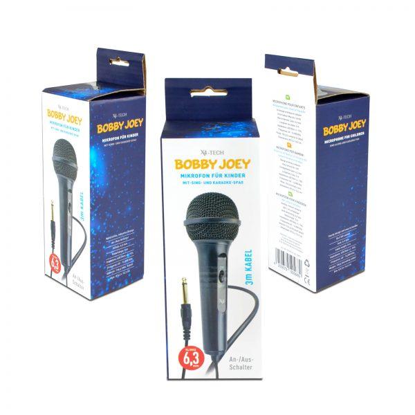 X4-Tech Bobby Joey Kindermikrofon (schwarz) / 6,3mm Klinke / 3m Kabel / 630Ohm